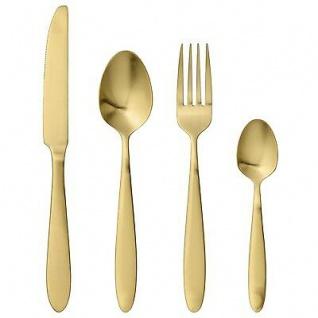 Bloomingville Besteck gold 4-tlg rostfreier Stahl Messer. Gabel. Löffel. Teelöff
