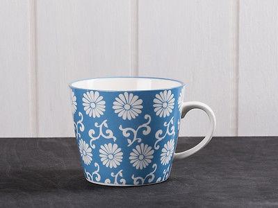 IB Laursen Becher LIVA staubig blau weiß Blumen Muster Tasse mit Henkel - Vorschau 1