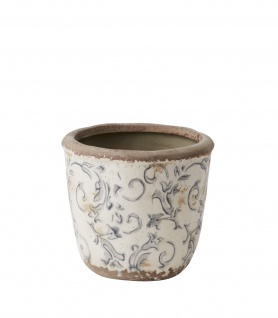 Affari Blumentopf VICTORIA Topf XS Grau weiß Keramik Steingut 10x11 cm Übertopf