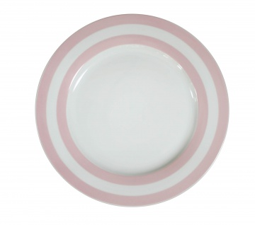 Krasilnikoff Essteller weiß Streifen rosa Porzellan Teller 25 cm Geschirr