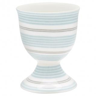 Greengate Eierbecher TOVA Hellblau Streifen Becher Porzellan Weiß Blau Grau