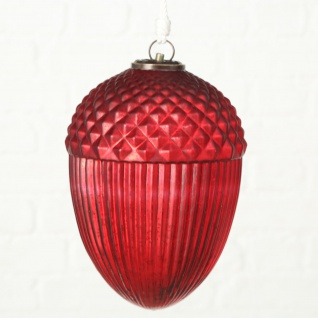 Deko Hänger EICHEL Rot 27 cm Glas Tannenbaumkugel XL Weihnachtsdeko zum Hängen