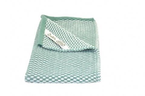 Solwang Gästehandtuch Natur / Grün gestrickt Handtuch Bio Baumwolle 32x47