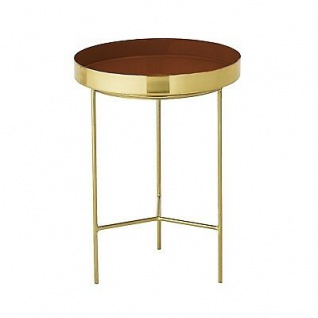 Bloomingville Beistelltisch gold rot Aluminium Tisch 30 cm Höhe 40 cm Metall