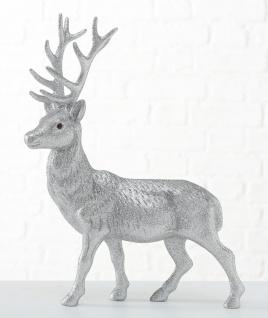 Hirsch ROBERT Silber 40 cm Kunststoff Deko Figur Weihnachtsdeko Geschenk