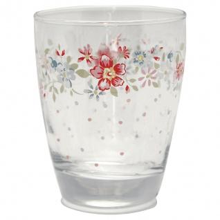 Greengate Glas CLEMENTINE Wasserglas 300 ml Trinkglas Saftglas mit Blumen