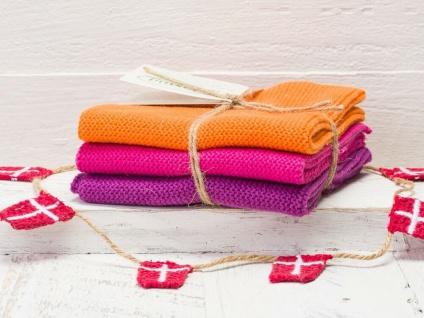 Solwang Wischtuch ORANGE PINK HEIDE KOMBI gestrickt 3er Set Küchentuch Putztuch