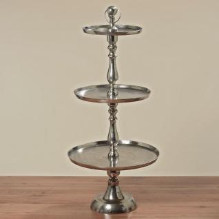 Etagere KATE XL 125 cm RUND Deko in Silber Metall 3 runde Etagen Hochzeitsdeko