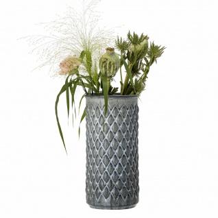 Bloomingville Vase Blau Grau Keramik 30 cm hoch Rund Karo Design Blumenvase Deko