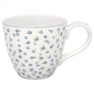 Greengate Becher ELLISE Weiß mit Blumen Porzellan Tasse Kaffeebecher 300 ml