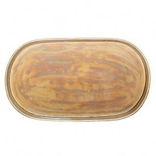 Bloomingville Tablett Paula braun metallic Kuchenteller Keramik oval Teller