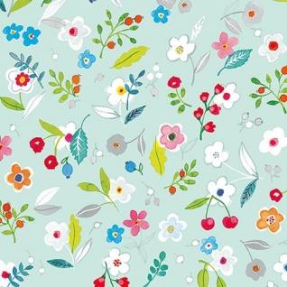 Ambiente Servietten TILLY AQUA Türkis grün Blumen bunt Blätter Früchte 20 St 33x