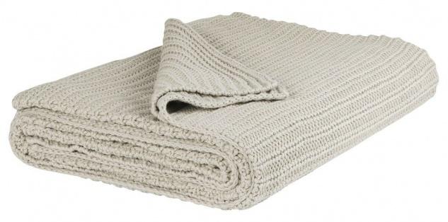 IB Laursen Decke creme gestrickt Plaid Quilt Wolldecke 130x180 Baumwolle
