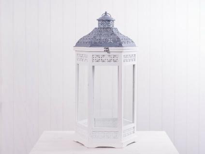 Laterne NANCY 78 cm weiß Holz Metalldach grau 6-eckig Gartenlaterne Windlicht