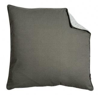 A.U Maison - Kissen mit Füllung dunkelgrau Punkte hellgrau Muster 50x50 Baumwoll