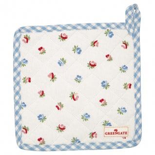 Greengate Topflappen VIOLA Weiß 2er Set mit Blumen Baumwolle 20x20 cm