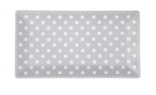 Krasilnikoff Tablett Teller PUNKTE Grau Weiß Porzellan Teller eckig 14x25 cm
