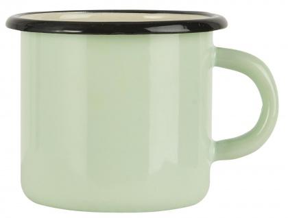 IB Laursen Becher Emaille Grün Tasse 400 ml Kaffeebecher Hellgrün mit Henkel