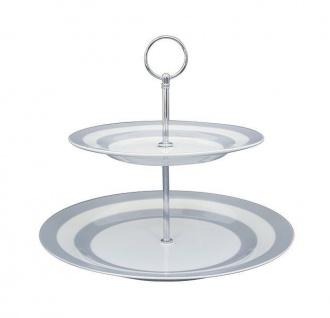 Krasilnikoff Etagere hellgrau weiß gestreift Porzellan 2 Teller mit Streifen gra