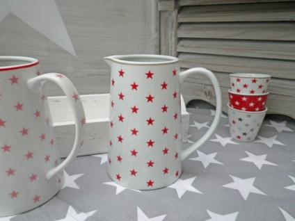 Krasilnikoff Krug STAR Rot Kanne weiß STERNE Porzellan Stern Karaffe 850ml 15 cm - Vorschau 4