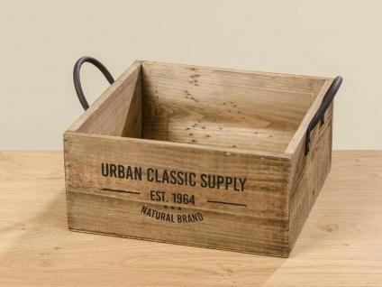Holzkiste URBAN CLASSIC 34 cm Kiste Holz Braun Griff Metall Vintage Deko Design