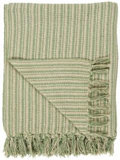 IB Laursen Plaid Grün / Creme Streifen Muster 130x160 Wolldecke Fransen Decke