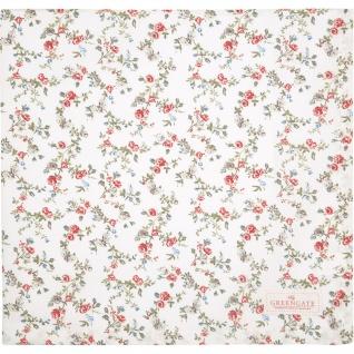 Greengate Tischdecke CARLY Weiß Blumen Baumwolle 150x150 cm
