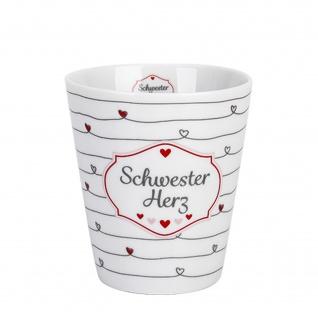 Krasilnikoff Becher Happy Mug SCHWESTER HERZ Porzellan Tasse 250ml Geschirr Weiß