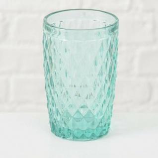 Trinkglas Milano 300 ml Rauten türkis grün Saftglas Milchglas grünes Glas 13 cm