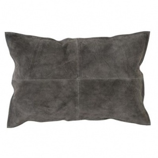Bloomingville Kissen Wildleder grau mit Füllung 40x60 Baumwolle Canvas Rückseite