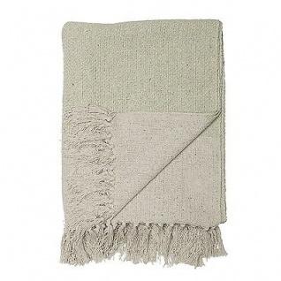 Bloomingville Decke hellgrün creme weiß Streifen Baumwolle Plaid Wolldecke Throw