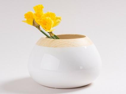 Vase BEATRIX weiß 16 cm Blumenvase Holz Design Deko Skandinavisch