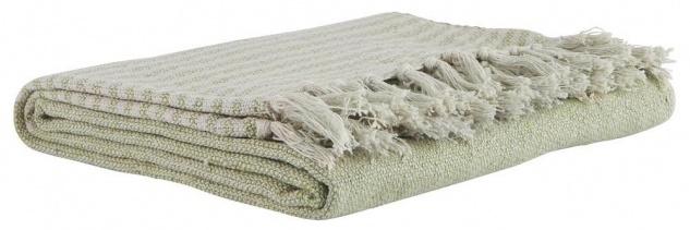 IB Laursen Plaid Streifen hellgrün creme weiß Fransen Baumwolle Tagesdecke Wolld