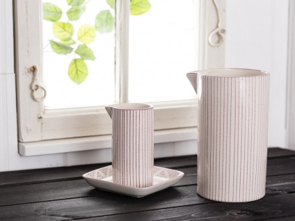 IB Laursen Kanne Casablanca lila weiß 0.2 Liter Streifen Geschirr Milchkännchen - Vorschau 3