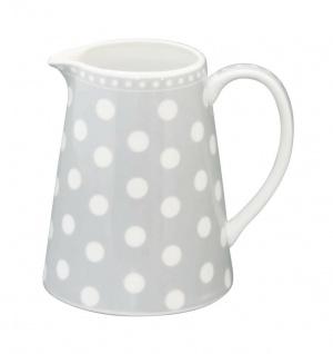 Krasilnikoff Milchkännchen PUNKTE Hellgrau Porzellan Sahnekännchen grau weiß