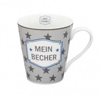 Krasilnikoff Happy Mug Henkel MEIN BECHER Hellgrau Sterne dunkelgrau