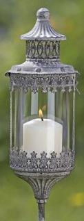 Metall Laterne Bristol auf Stab Windlicht Gartenstecker Gartenstab Vintage Glas