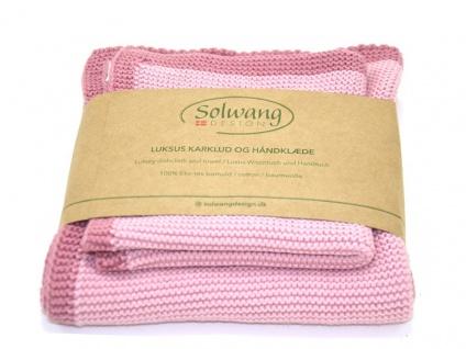 Solwang FRAME ANTIK ROSA 2er Set Wischtuch und Handtuch ÖKO TEX Baumwolle