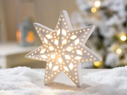LED Aufsteller STERN LEA Porzellan weiß Licht 16 cm Weihnachten Deko Objekt