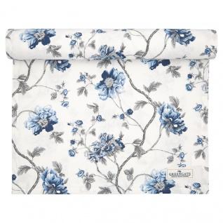 Greengate Tischläufer CHARLOTTE Weiß Blau Blumen Baumwolle 45x140 cm Tischdecke