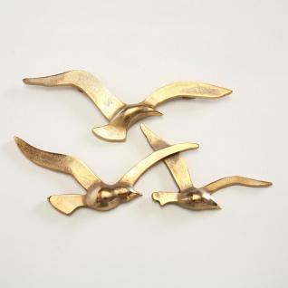 Wandojekt MÖWE 35 cm Gold Metall 3 Möwen Maritime Deko Objekt Vögel Sommerdeko