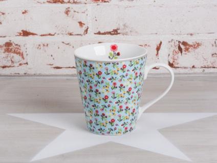 Krasilnikoff Happy Mug Henkel Becher Blume MILLE FLEURS Blau Blumen bunt