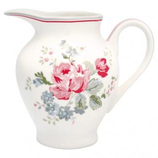 Greengate Milchkännchen ELOUISE Weiß Rot Porzellan Geschirr mit Blumen 350 ml