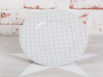 Krasilnikoff Kuchenteller DIAGONAL Hellgrau Porzellan Teller weiß grau 20 cm