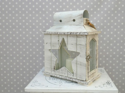 Laterne Etoile 32 cm. Stern förmige Fenster. Gartenlaterne. Windlicht. weiß Holz