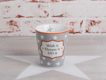 Krasilnikoff Happy Mug Becher WISH IT - DREAM IT - DO IT Grau Sterne 250 ml