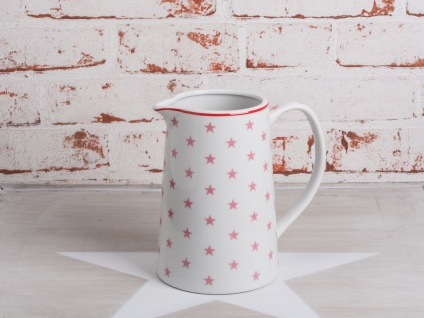 Krasilnikoff Krug STAR Rosa Kanne weiß STERNE pink Porzellan Stern Karaffe 850ml