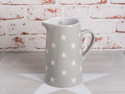 Krasilnikoff Krug BRIGHTEST STAR Hellgrau Kanne grau Sterne weiß Karaffe 1.25 L
