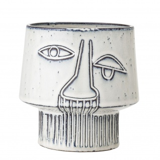 Bloomingville Blumentopf ART Weiß Übertopf Keramik Topf 15 cm mit Gesicht Design