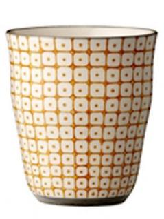 Bloomingville Carla Becher orange weiß Muster Keramik Tasse 9, 5 cm